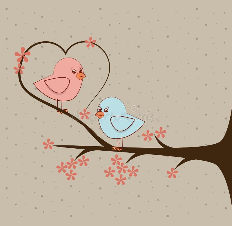 爱鸟和结构树 向量例证