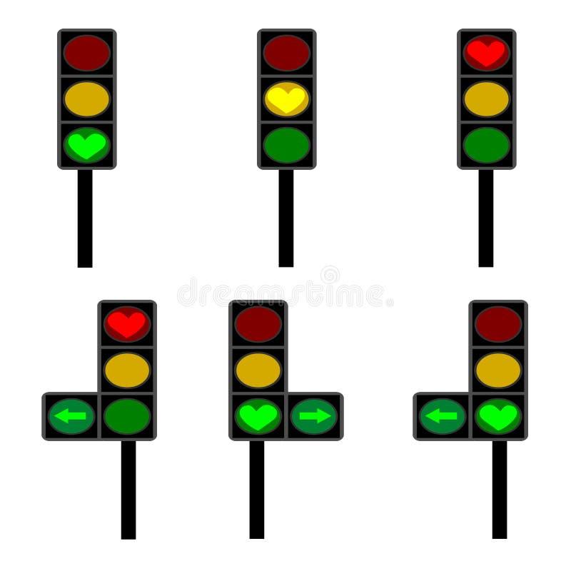 爱,信号浅红色,黄色和绿色灯 向量例证