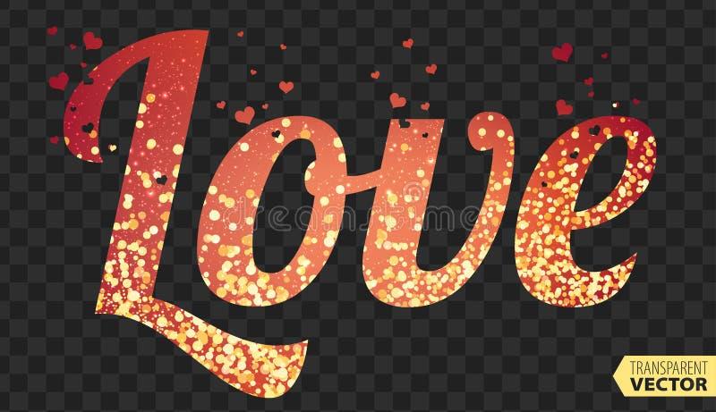 爱,字体类型,紫色颜色,愉快的情人节卡片 透明传染媒介 皇族释放例证