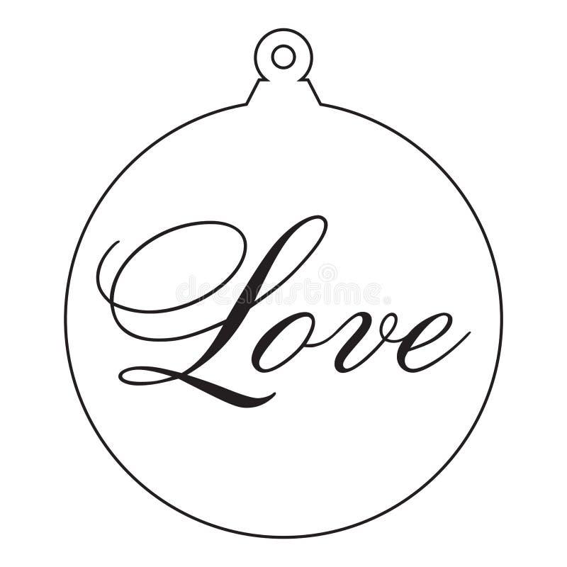 爱 古色古香的圣诞树装饰品 向量例证