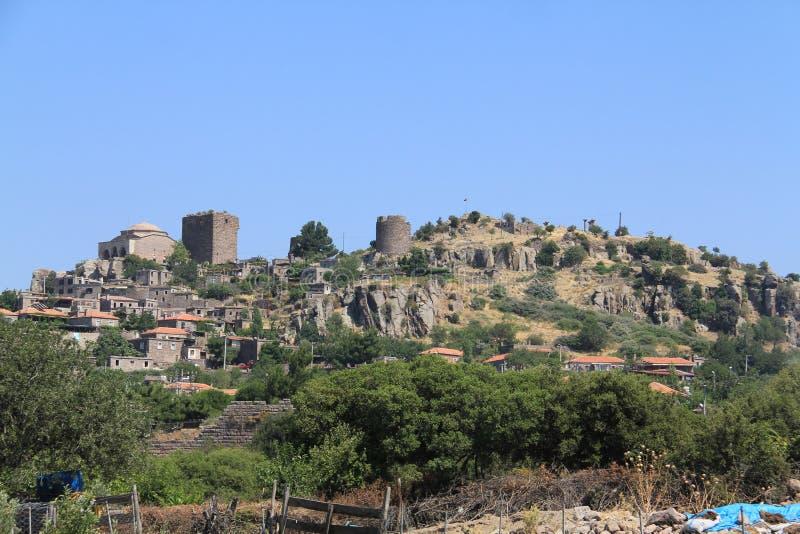 爱琴海区域- Assos城堡,雅典娜寺庙, 库存图片