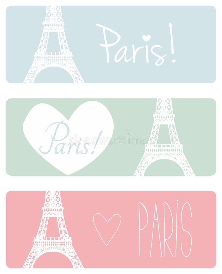 爱巴黎淡色横幅集合 皇族释放例证
