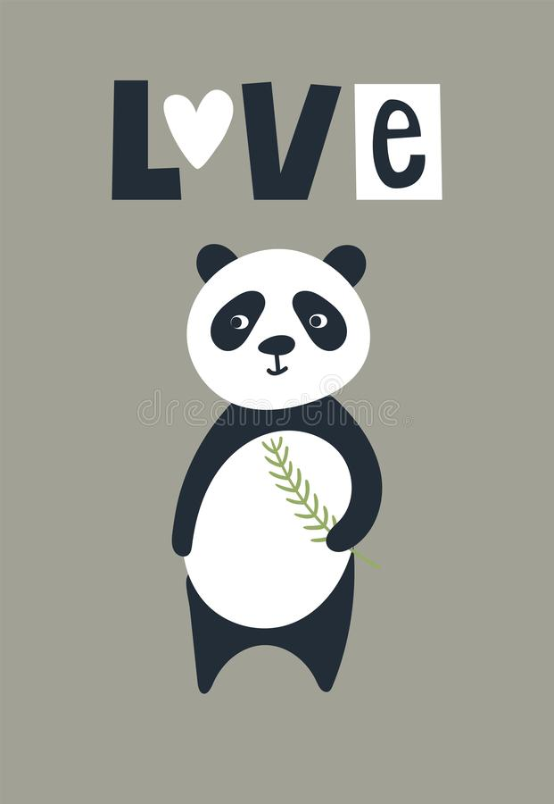 爱-逗人喜爱的与熊猫动物和字法的孩子手拉的托儿所海报 向量例证