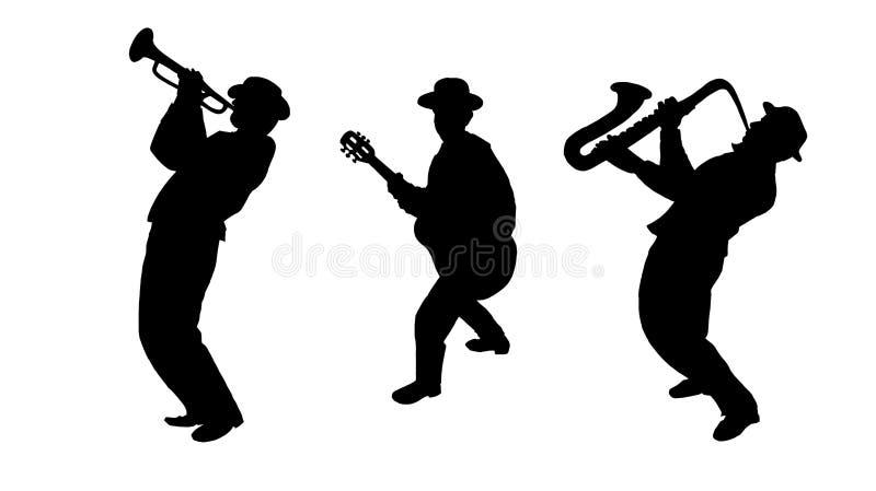 爵士乐三重奏音乐家 库存例证