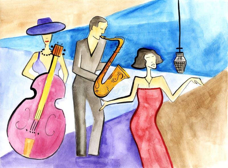 爵士乐女性低音歌手、女歌手和男性萨克斯管吹奏者 库存例证