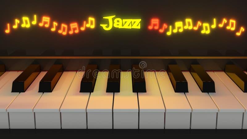 爵士乐有发光的笔记的琴键 皇族释放例证