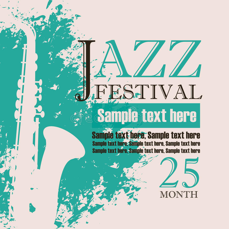 爵士乐节日音乐会的海报  向量例证