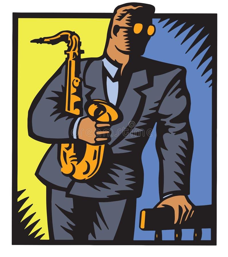爵士乐萨克斯管吹奏者 向量例证