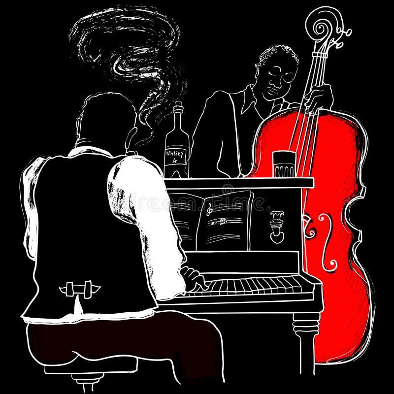 爵士乐钢琴和双低音 皇族释放例证