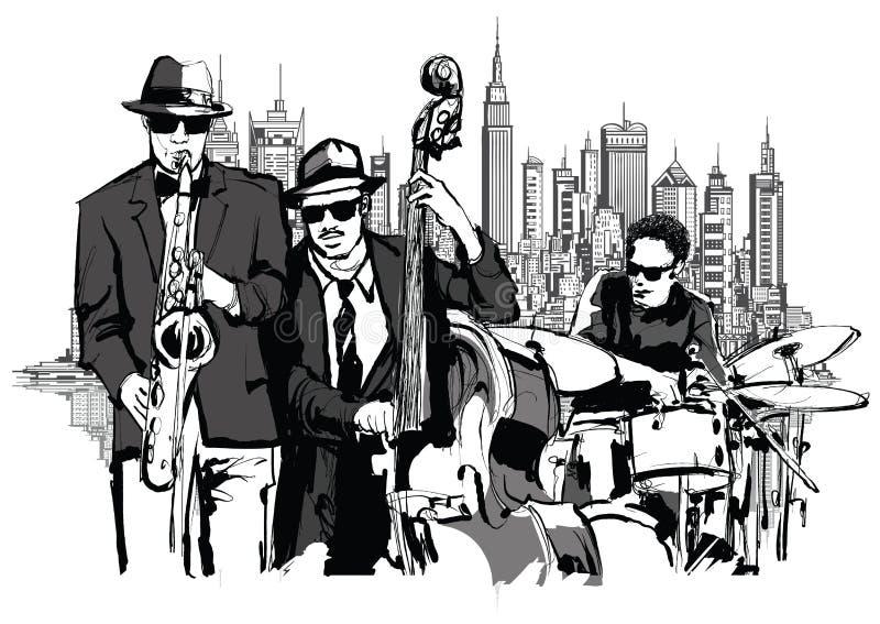 爵士乐队在纽约 皇族释放例证