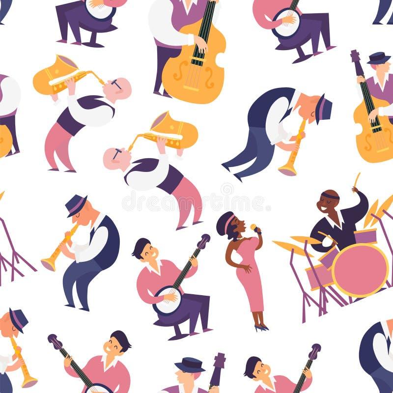 爵士乐队无缝的样式vectorillustration 库存例证