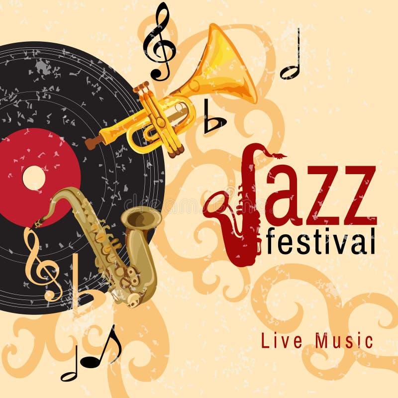 爵士乐音乐会海报 向量例证