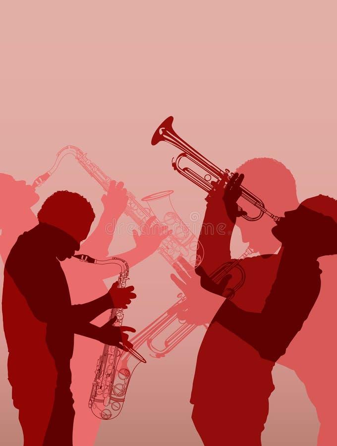 爵士乐黄铜音乐家 库存例证