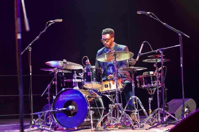爵士乐鼓手考纳斯爵士乐的以马内利Harrold 2015年 免版税图库摄影