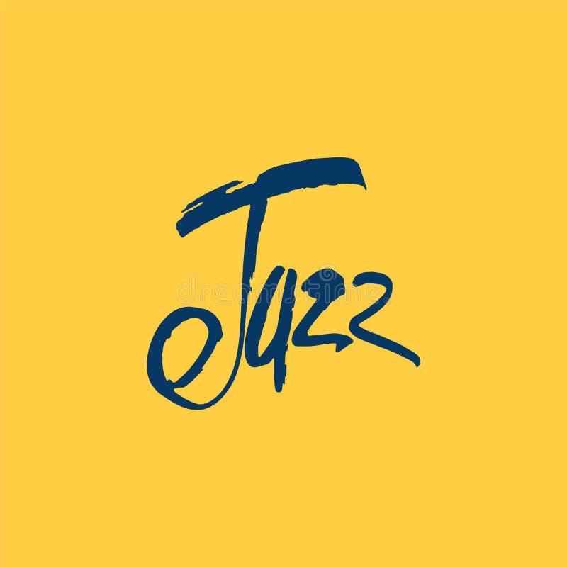 爵士乐 刷子笔字法 传染媒介墨水题字 书法现代样式 music poster 为音乐事件完善 库存例证