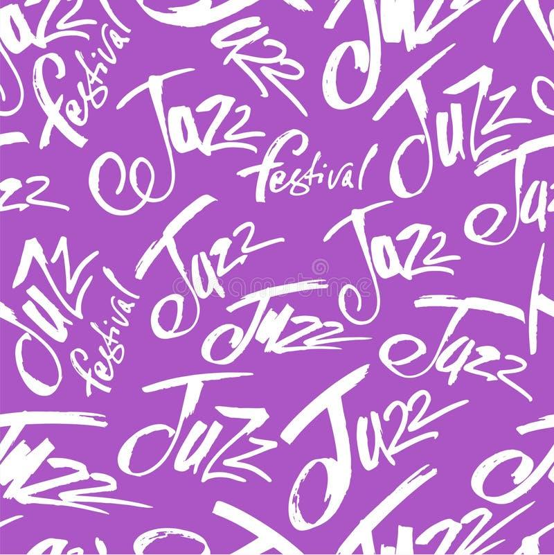 爵士乐 掠过在无缝的样式上写字的笔 传染媒介墨水题字 书法现代样式 music poster 完善为 向量例证