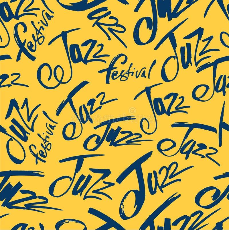 爵士乐 掠过在无缝的样式上写字的笔 传染媒介墨水题字 书法现代样式 music poster 完善为 皇族释放例证