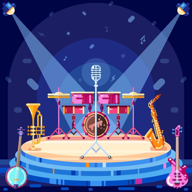爵士节阶段,导航平的例证 在场面指挥台的乐器和聚光灯设备 皇族释放例证