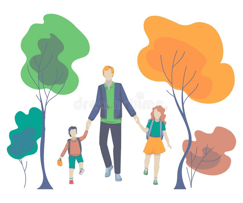 父亲、儿子和女儿一起去 把孩子带的父母对学校 回到学校 库存例证