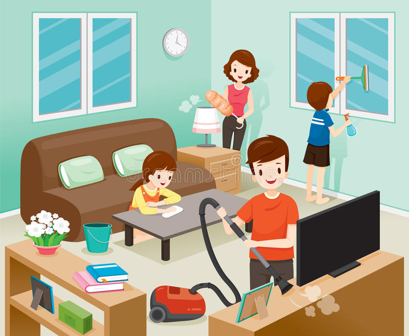 父亲、母亲、儿子和女儿一起清洁家 库存例证