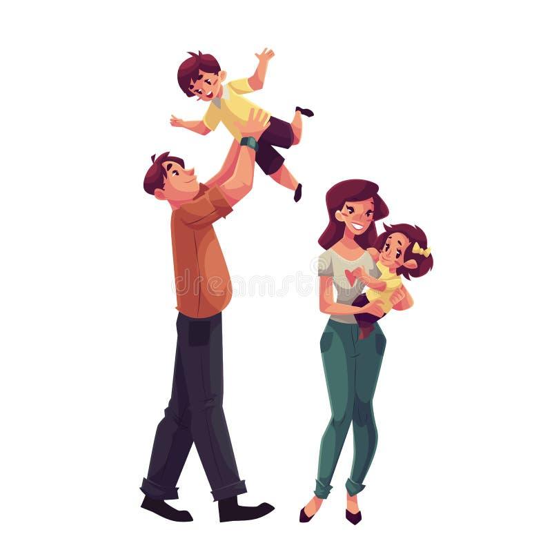 父亲、母亲、女儿和儿子,愉快的家庭观念 库存例证