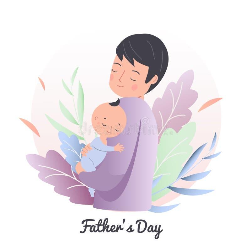 父亲举行小睡觉的孩子 有婴孩的爸爸 人护士小孩 父亲节概念例证 做父母的字符 向量例证