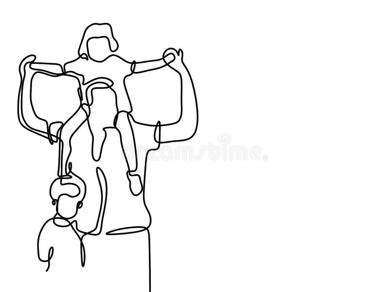 父亲和他的孩子一条线连续的设计图手拉的lineart minimalistic样式 向量例证