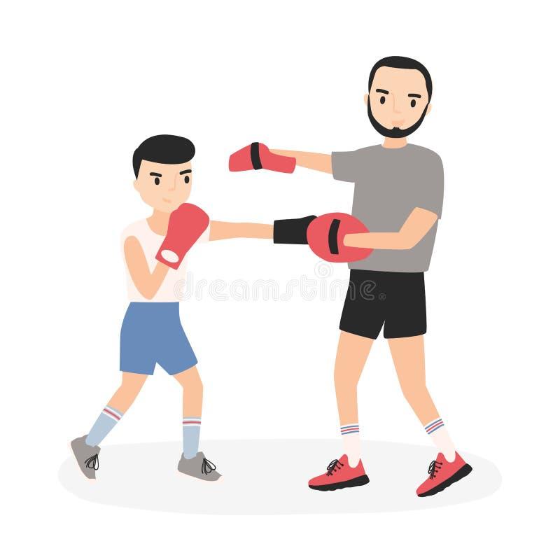 父亲和儿子在运动服实践的拳打穿戴了在拳击训练 执行体育活动的父母和孩子 向量例证