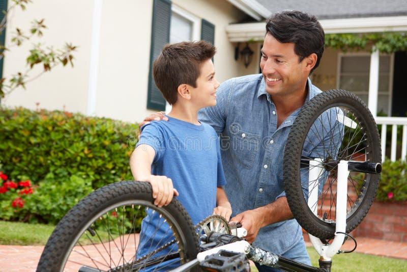 父亲和儿子定象自行车 库存照片