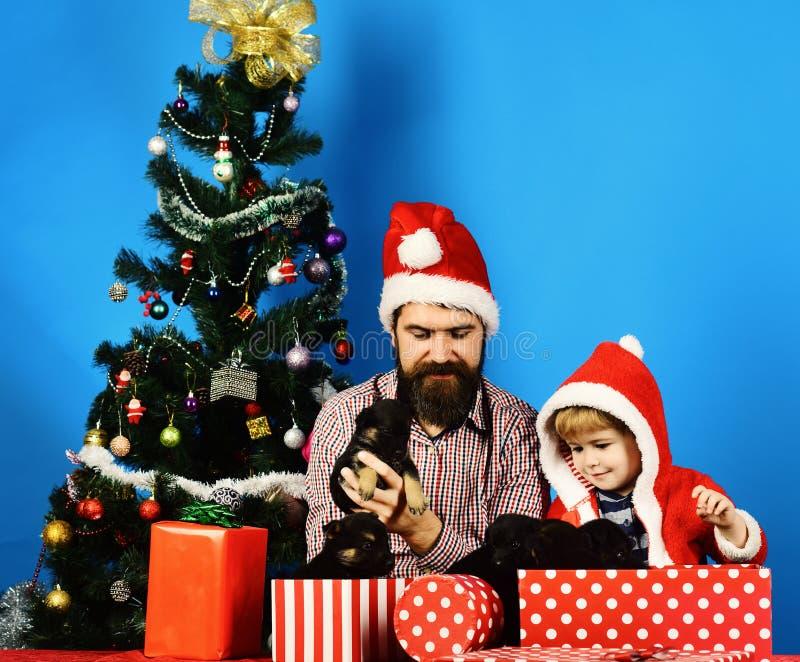 父亲和儿子有愉快的面孔的打开礼物 免版税库存图片