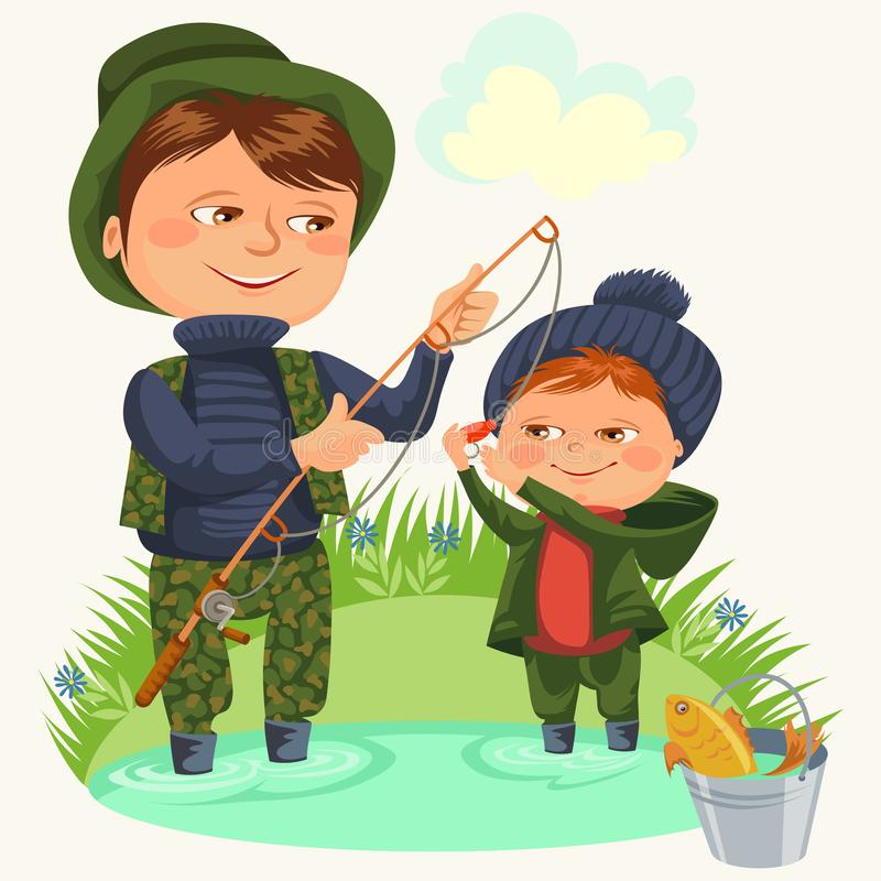 父亲和儿子浇灌拿着标尺的渔并且用桶提充分的鱼,家庭孩子假期愉快的父亲节,有孩子的爸爸 向量例证