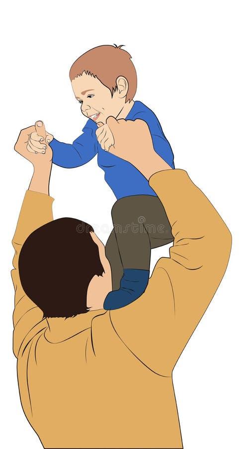 父亲和儿子 向量例证
