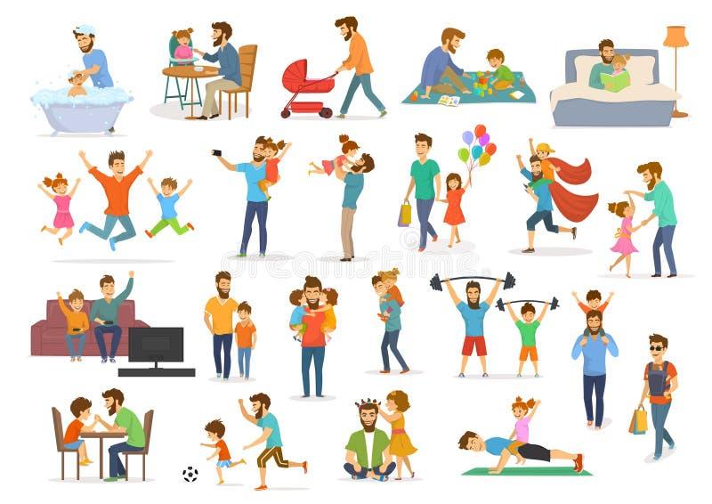 父亲和儿童汇集、爸爸有孩子的男孩和女孩有乐趣跃迁步行舞蹈戏剧超级英雄足球电子游戏,作为selfie, hu 库存例证