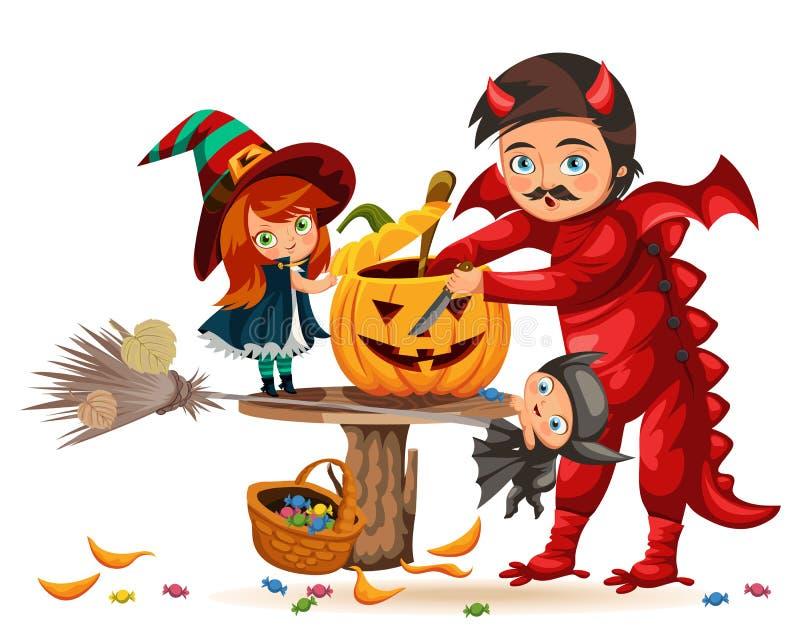 父亲和女儿做尊敬南瓜海报 有孩子的动画片爸爸在巫婆和龙神秘的服装穿戴了  皇族释放例证