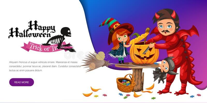 父亲和女儿做尊敬南瓜海报 有孩子的动画片爸爸在巫婆和龙神秘的服装穿戴了  库存例证