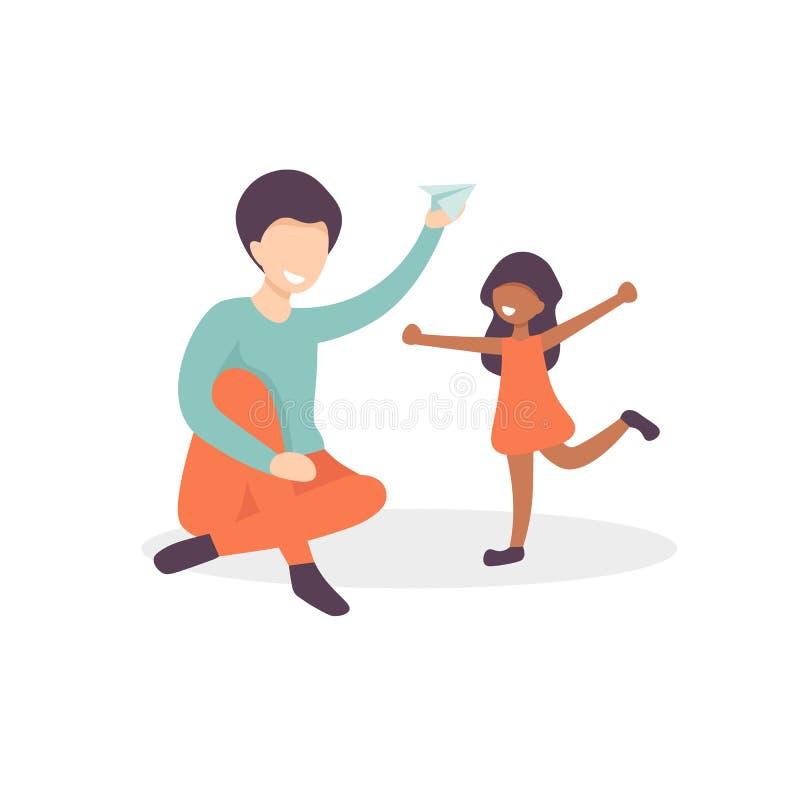 父亲和女儿戏剧纸飞机 库存例证