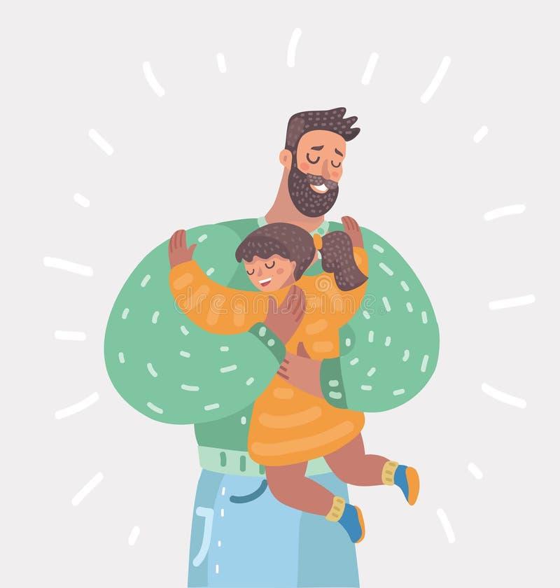 父亲和女儿拥抱 向量例证