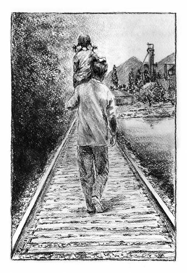 父亲和女儿铁路的 皇族释放例证