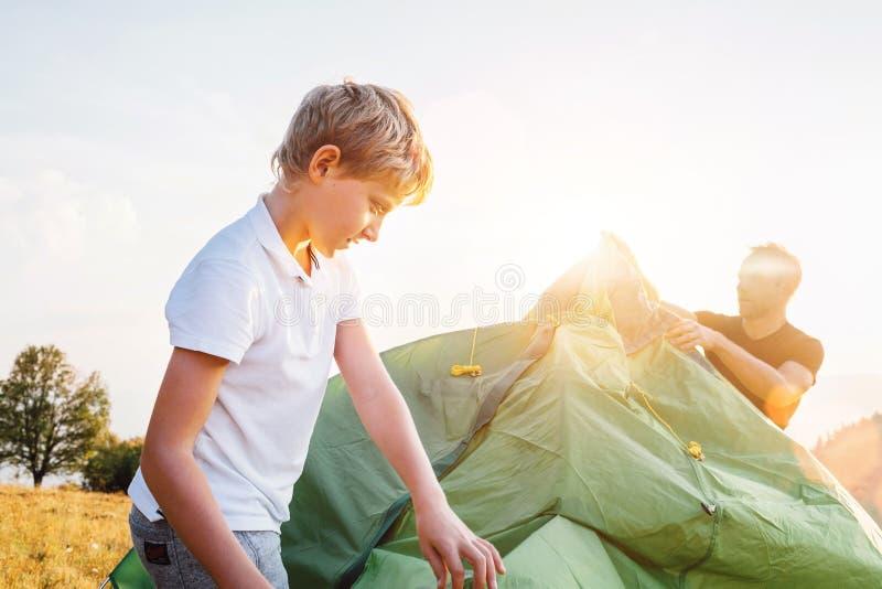 父亲帮助他的在日落森林沼地的儿子设置帐篷 库存照片
