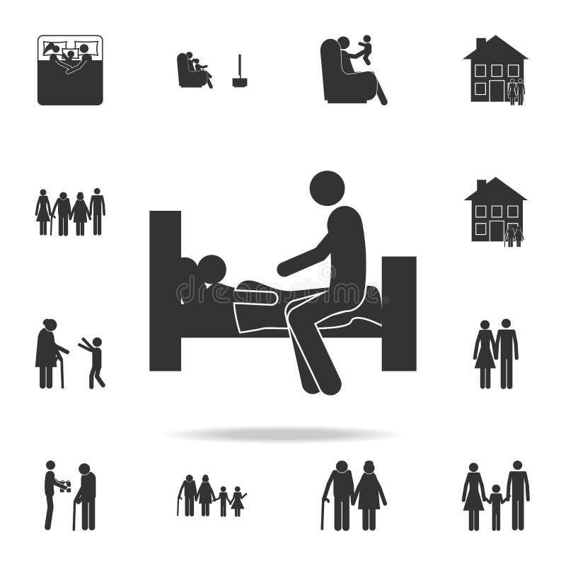 父亲投入孩子供象住宿 详细的套家庭象 优质图形设计 其中一个网站的汇集象, 向量例证
