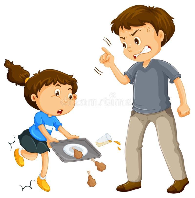 父亲抱怨孩子 向量例证