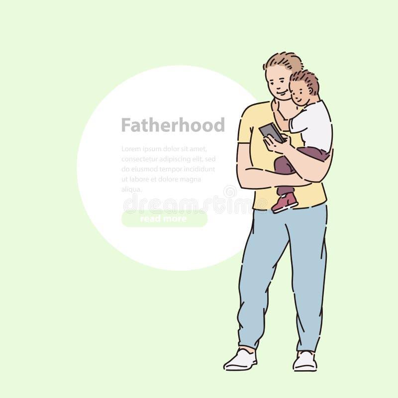 父亲拿着儿子他的胳膊和神色入电话 在夏时传染媒介线艺术例证横幅和圆的区域的步行 向量例证