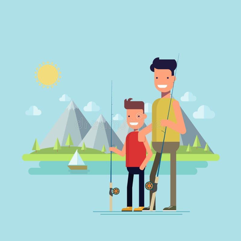 父亲捕鱼去的儿子 愉快的孩子在一次钓鱼上花费与他的父亲的时间 有效的室外重新创建 库存例证