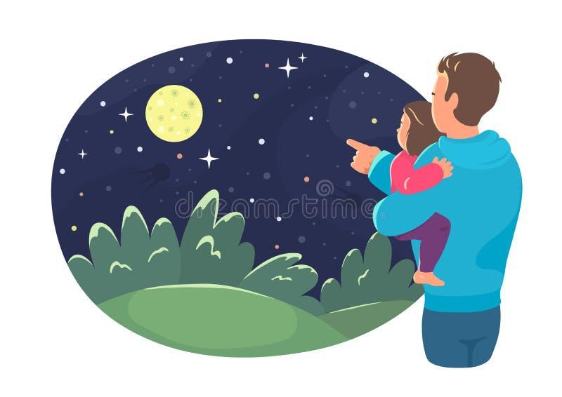 父亲显示她的女儿在夜空的月亮 库存例证