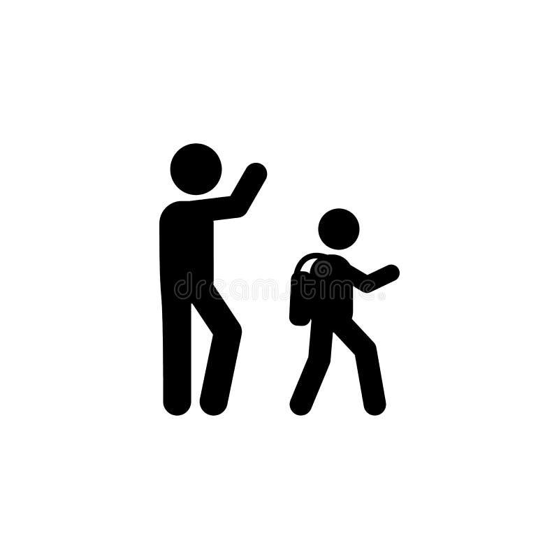 父亲步行学生象 回到学校例证象的元素 标志和标志汇集象网站的,网络设计, 库存例证
