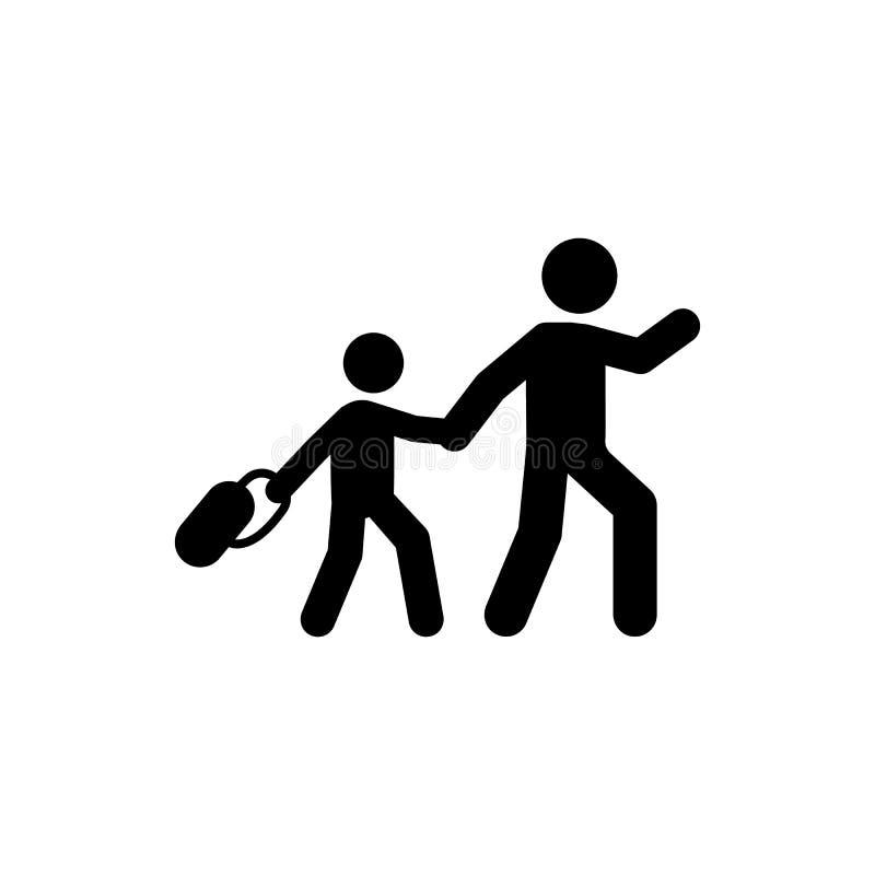 父亲步行学生象 回到学校例证象的元素 标志和标志汇集象网站的,网络设计, 皇族释放例证