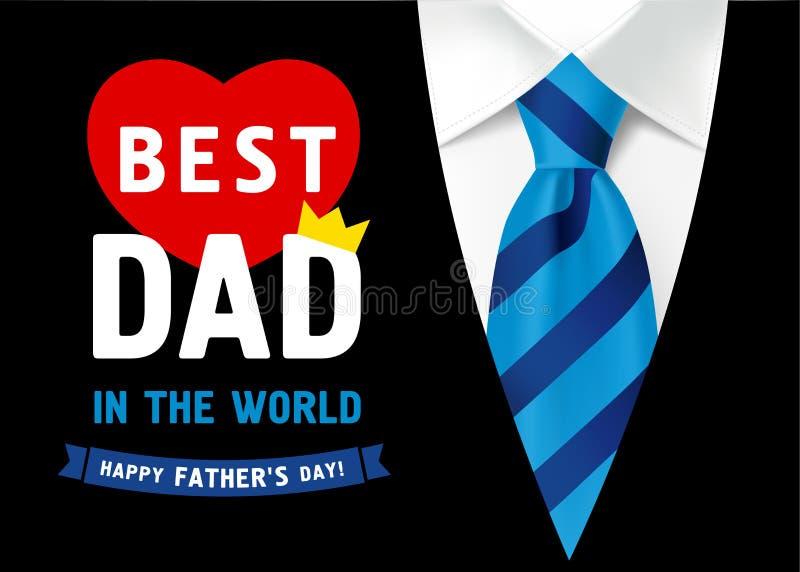 父亲节与在最佳的爸爸上写字的横幅设计在世界上 向量例证