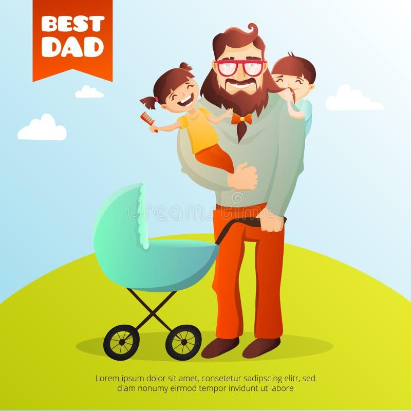 父亲节传染媒介概念 与愉快的家庭的例证 行家人和他的孩子 库存例证