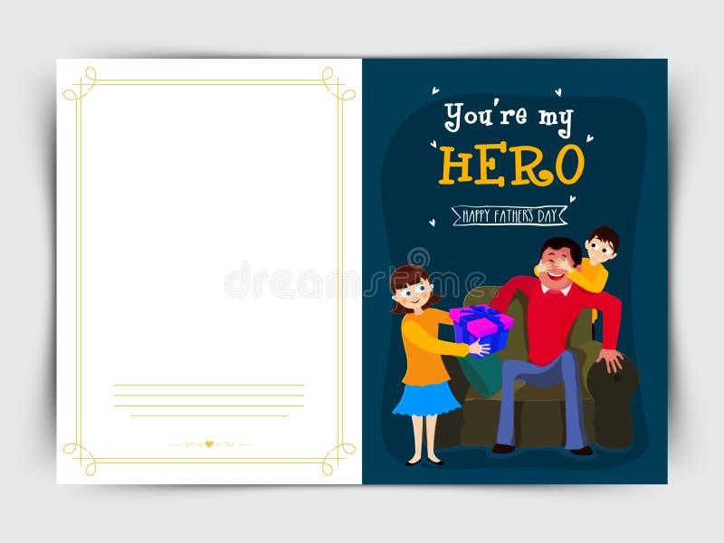 父亲节庆祝的贺卡设计 库存例证