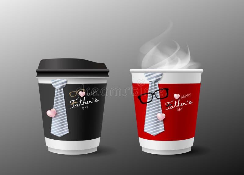 父亲节热的cofffee杯子和领带构思设计  向量例证